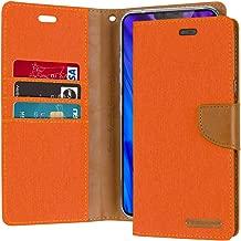 Goospery Canvas Wallet for LG V40 ThinQ Case (2018) Denim Stand Flip Cover (Orange) LGV40-CAN-ORG