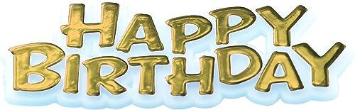 Web oficial CREATIVE PARTY Happy Happy Happy Birthday Motto Cake Toppers oro  barato
