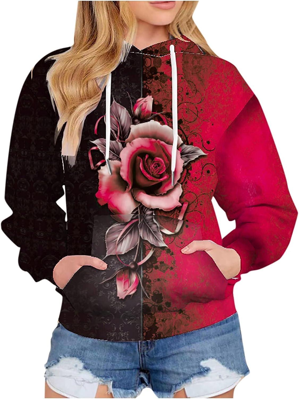Rose Kawaii Hoodies for Womens Fall Fashion Long Sleeve Shirts Winter Casual Tee Cute Hooded Blouse Tops Sweatshirts