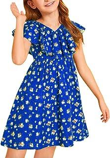 فساتين KYMIDY للفتيات الصغيرات مزينة بالزهور بأكمام قصيرة مكشكشة فساتين متوسطة الطول للبنات من 6-12 سنة