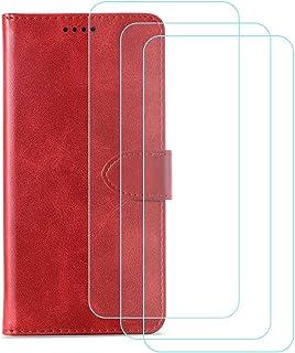 TTJ Mobiltelefonskal för Alcatel 1B 2020 [3 st] pansarglas, HD härdat glas displayskyddsfolie – läder flip plånboksfodral ...