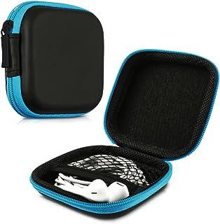 kwmobile fyrkantigt bärfodral för hörlurar – bärbar förvaringsväska för hörlurar hörlurar hörlurar små föremål med dragked...
