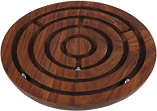 Labyrinth Maze Puzzle Board Game - Crafkart Brain Teaser Hand and Eye Coordination Brain Game Gifts - Wooden Labyrinth Board Game Ball in Maze Puzzle Handcrafted in India