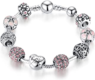 Qings Pandora Style Silver Plated Charm Beads Bracelet for Women Gift