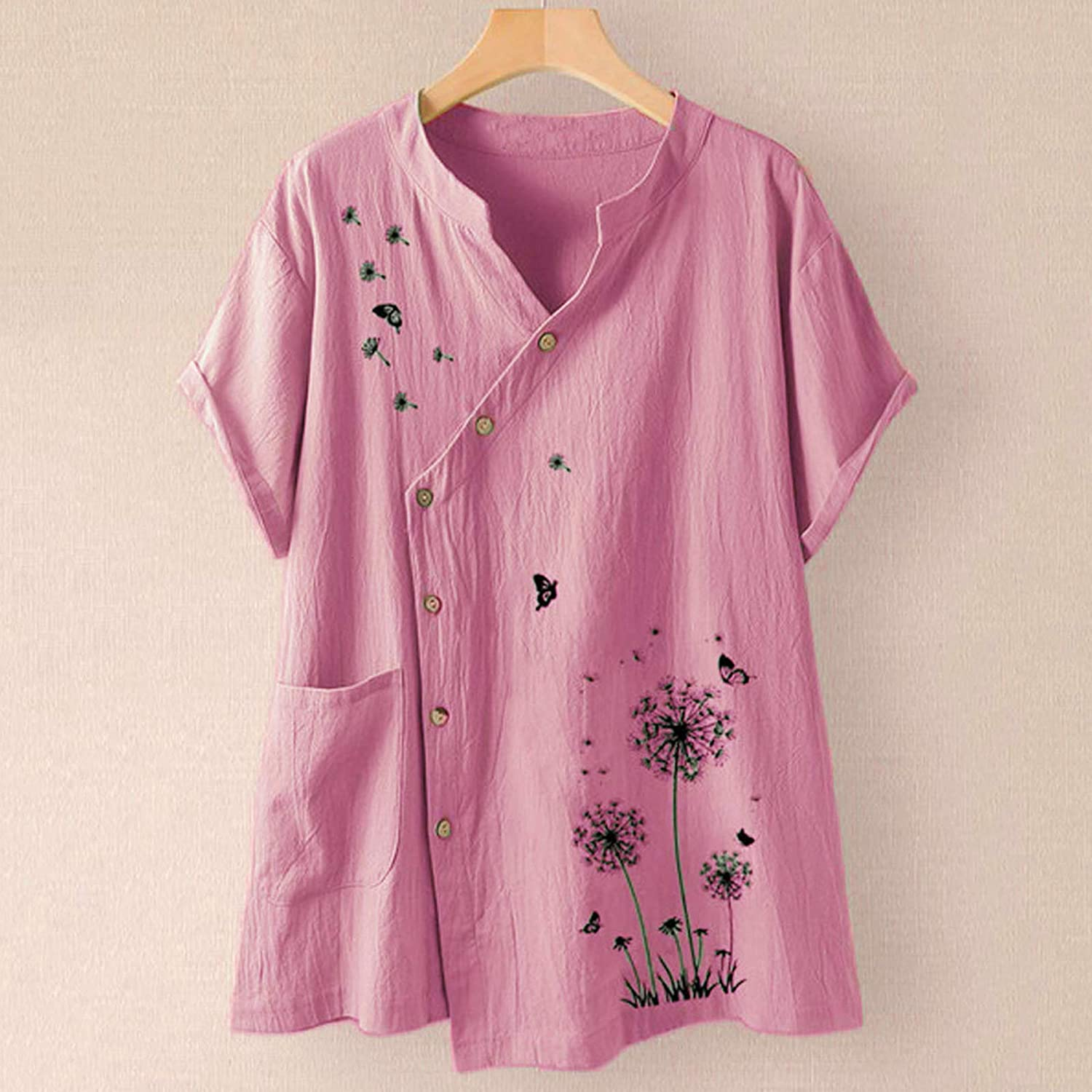 Gwewei4df Plus Size Short Sleeve Shirts for Super-cheap Tops Casual Max 87% OFF Women Fl