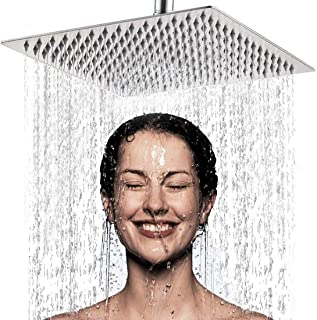 YOMYM High Pressure Fixed Mounting Rain Shower Head-8 Inch / 20cm Large Square 304 Stainless Steel Spray Shower - 1/2 '' C...