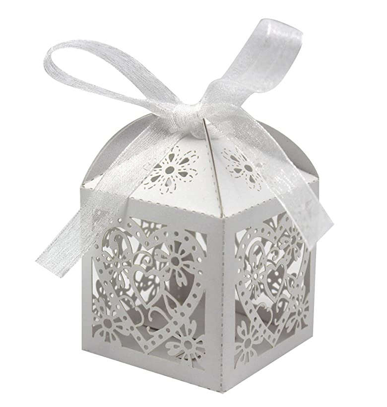 KEIVA 70 Pack Love Heart Laser Cut Wedding Party Favor Box Candy Bag Chocolate Gift Boxes Bridal Birthday Shower Bomboniere with Ribbons (White, 70)