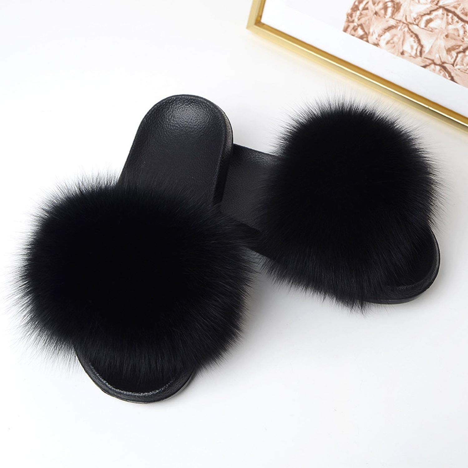 Huntty Plush Furry Real Fur Slippers 2019 Mixed colors Fox Hair Slides Summer shoes Women Plus Size Flip Flops Ladies