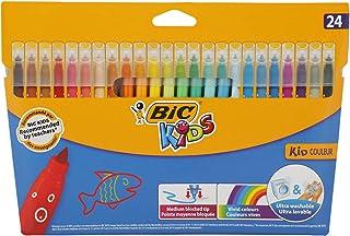 BIC Kids Kid Couleur Feutres de Coloriage à Pointe Moyenne - Couleurs Assorties, Etui Carton de 24