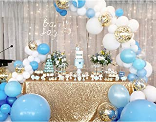 Soonlyn Blue Confetti Balloons 100 Pcs 10 Inches Matte Party Latex Balloon Arch Kit for Baby Shower Birthday Party Decoration and Gender Reveal Balloons