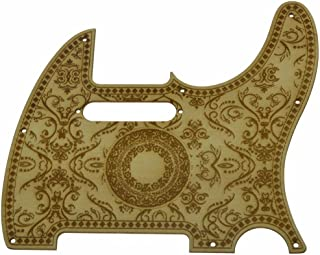 KAISH 8 Hole Floral Style Tele Maple Guitar Pickguard Wooden Scrach Plate for Fender Telecaster