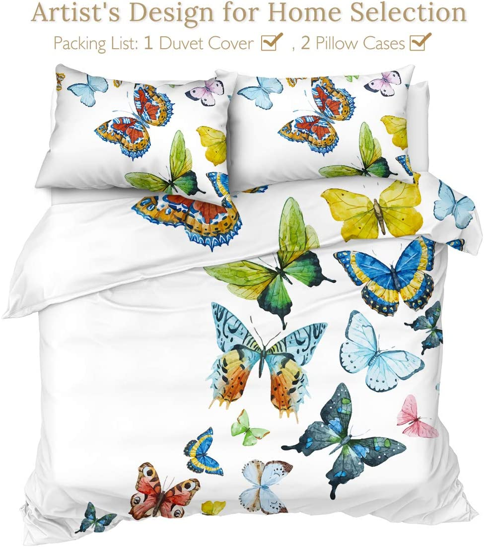 Twin Sleepwish Bedding Duvet Cover Sets Abstract Butterfly Colorful Fantasy Fractal Art Bed Set 3 Piece Hippie Psychedelic Butterflies Bedspread Blue Turquoise and Yellow