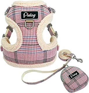 Didog Soft/Cosy Dog Vest Harness and Leash Set with Cute Bags,No Pull Escape Proof Breathable Mesh Dog Harness,Classic Plaid/Back Openable,Fit Walking Small Dogs, Cats