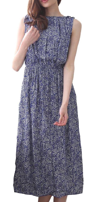 [カナクレール] レディース ロング ワンピース ノースリーブ マキシ 丈 森ガール 花柄 切替 夏 ブルー M~XL
