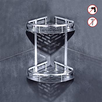 Estante para Ducha esquinero de 2 Pisos Organizador Autoadhesivo para Ducha Estante esquinero de Aluminio Higger Estanter/ía esquinera para Ducha taladrar
