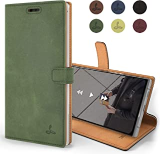 Samsung Galaxy Note 10 Plus Case, Genuine Leather Wallet Viewing Stand Card Slots, Flip Cover Gift Boxed Handmade in Europe Samsung Galaxy Note 10+ (Dark Green)