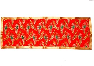 Orange Pooja Mat Aasan Chunari Decorative Velvet Cloth Backdrop (Size:-12 Inches X 28 Inches,) for Multipurpose Pooja Deco...
