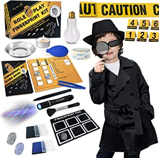 Spy Kit for Kids Detective Outfit Fingerprint Investigation Role Play Dress Up Educational Science STEM Toys Costume Secret Agent Finger Print Identification Set Boys Girls Age 6+ Birthday Gifts