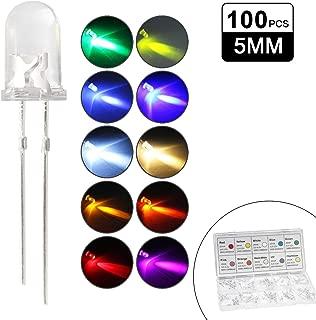 10 mm DIODO LED TRASPARENTE 20 mA ultra-brillante rosso verde bianco giallo blu arancione