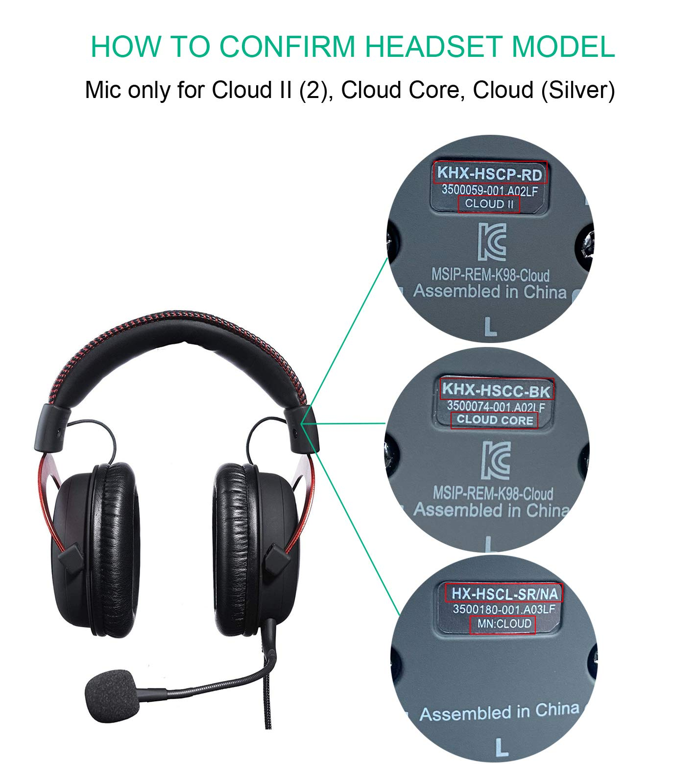 Micr/ófono de repuesto compatible con HyperX Cloud Mic 2 II Cloud Core Cloud Pro CloudX Noise Cancelling Gaming Headsets