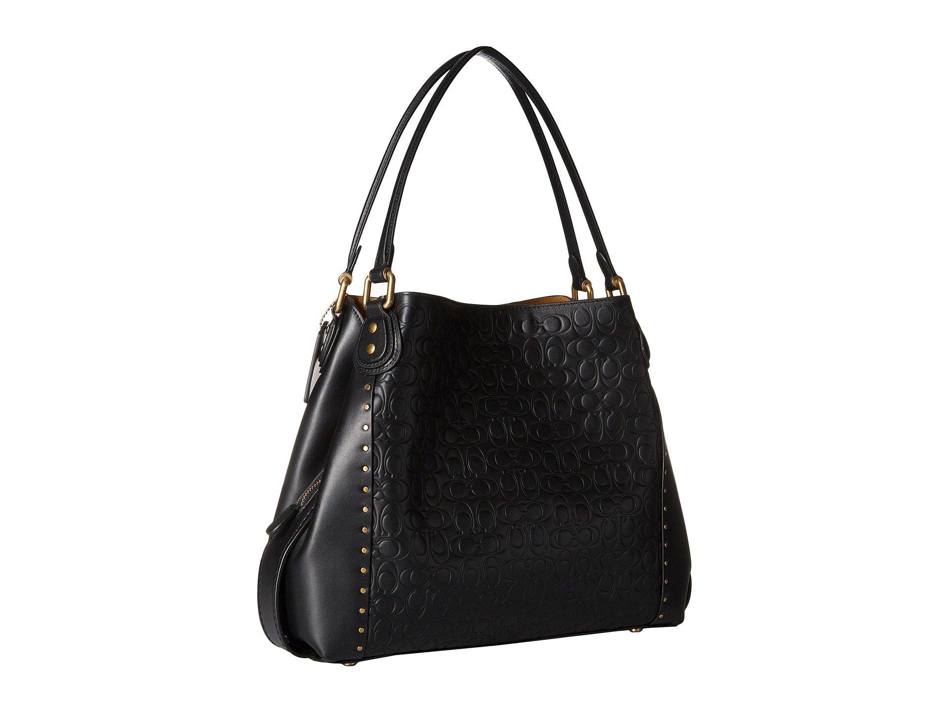 Leather black In Signature Bag Shoulder B4 31 Edie Coach gaYRpg