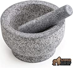 Gorilla Grip Original Mortar and Pestle, 6 Inch, Holds 2 Cups, Slip Resistant Bottom, Large Heavy Duty Unpolished Granite, Guacamole Molcajete Bowl, Kitchen Spices, Herbs, Pesto Grinder, Medium Size