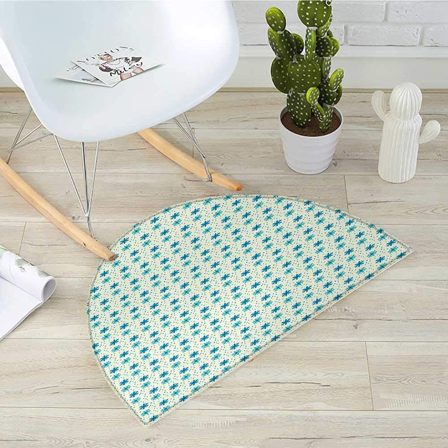 Ivory and bluee Semicircular CushionNostalgic Doodle Dotted Background Nature Growth Arrangement Entry Door Mat H 39.3  xD 59  bluee Turquoise and Ivory