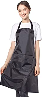UK Black PVC Waterproof Soft Apron with Adjustable Neck Strap and Front Pockets, Wipeable and Sanitizable