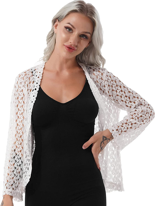 XUNZOO Women's Crocheting Lace Bolero Jacket Lightweight Sheer Open Front Cardigan Dress Cover Up