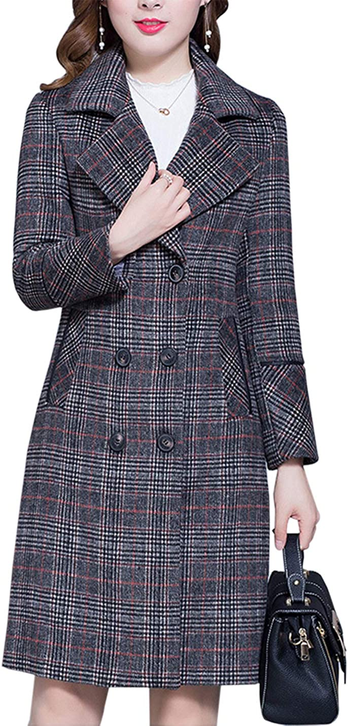 Women's Plaid Credence Wool-Blend Coat Mid-Long Trench Breasted Co Cash special price Double