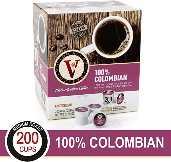 100 Colombian For K Cup Keurig 2 0 Brewers 200 Count Victor Allen S Coffee Medium Roast Single Serve Coffee Pods
