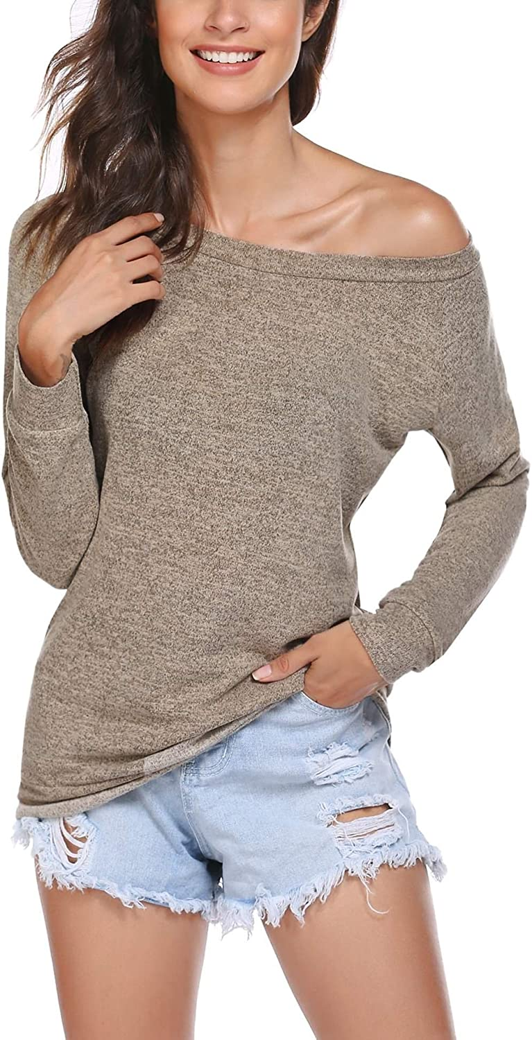 Wildtrest Off The Shoulder Tops for Women Boat Neck Long Sleeve Stretchy Pullover Shirts Blouse S-XXL