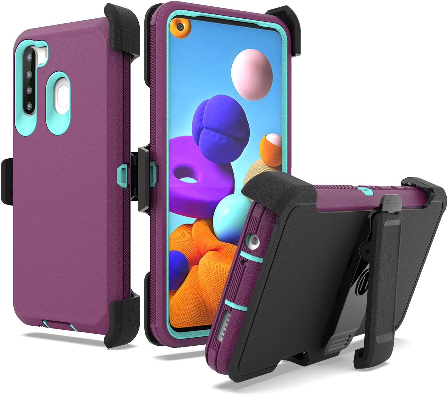 UNC Pro 3 in 1 Belt Clip Holster Cell Phone Case for Samsung Galaxy A21, Heavy Duty Hybrid Shockproof Bumper Case with Kickstand, Fuchsia/Teal
