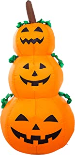 Athoinsu 4ft Lighted Halloween Pumpkin Lantern Inflatables 3 Jack-O-Lanterns Self-Inflating Air Blown up Holiday Display Party Decoration (Style 1)