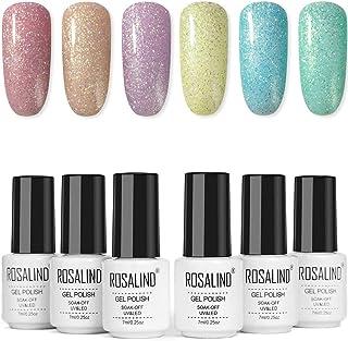 Pintauñas Semipermanente - Esmalte de uñas en gel de 6 colores Rainbow Shiny Series Kit manicura semipermanente