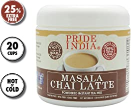 Pride Of India - Masala Chai Latte - Powdered Instant Tea Premix, 8.82oz (250gm) Jar - Makes 20-25 Cups - Amazing Flavor, Hold or Iced, Very Low Caffeine, Ready in seconds, Great for Gifting & Parties