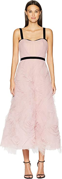 Sleeveless Textured Tulle Tea Length Gown with Draped Corset Bodice and Velvet Trims