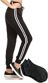 Women's Soft Black Leggings Jogger Pants Side Striped Panels Sweatpants and Pockets w/Free Socks