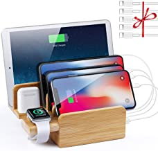 NEXGADGET 6 in 1 Bamboo Charging Station for Multiple Devices,6 Port 40W USB Desktop Charger,Fast USB Charging Station Organizer for Cellphone,Smart Watch,Tablets and Other USB Devices(5 Pack Cables)