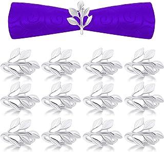 Napkin Rings Set of 12, Leaf Napkin Ring Holders, Bridal Napkins Rings Glossy Napkin Holder Adornment for Vintage Christma...