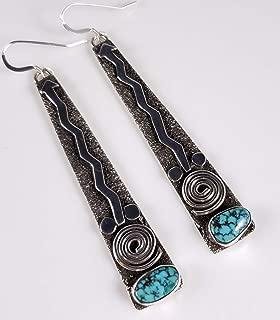 Sterling Silver Navajo Red Web Kingman Turquoise Dangle Earrings By Alex Sanchez