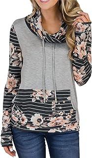 Eytino Women Floral Printed Long Sleeve Pocket Drawstring Hooded Pollover Sweatshirt