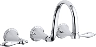 KOHLER K-T343-4M-CP Finial Traditional Wall-Mount Lavatory Faucet with Lever Handles, Polished Chrome