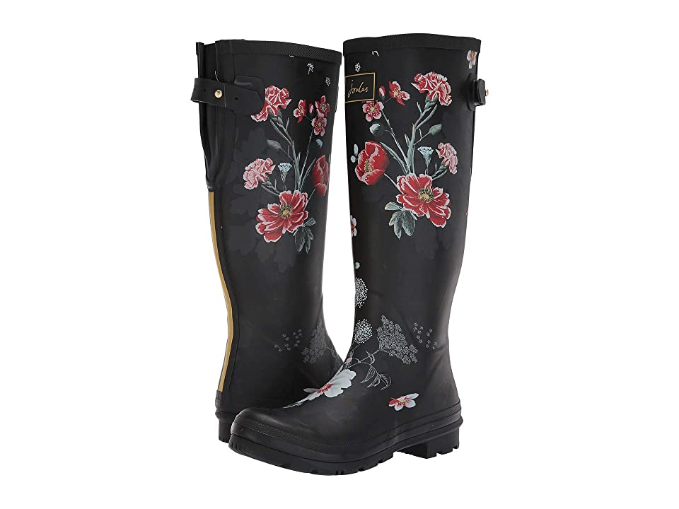 Joules Welly Print (Black Floral) Women
