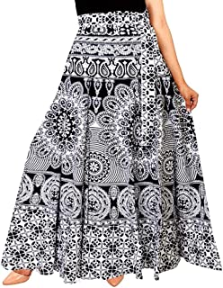 Rangun Unique Choice Women's Printed Cotton Wrap Around Skirt (Black and White, Free Size)