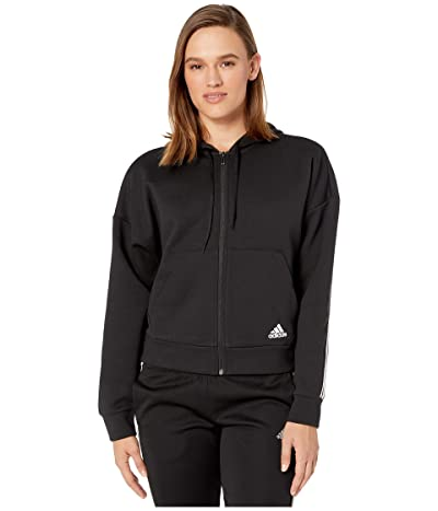 adidas Must Have Double Knit Full Zip Hoodie (Black/White) Women