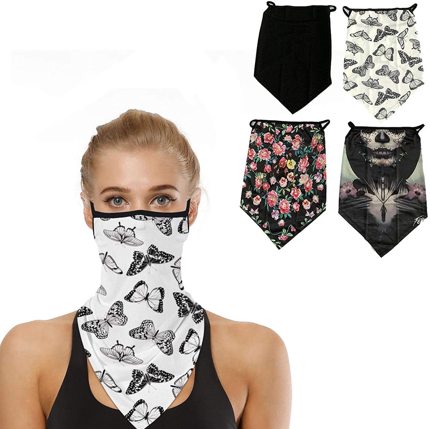 Face Bandana Ear Loops Neck Gaiter Face Scarf Printed Cooling Face Cover Balaclava for Women Dust Mask & UV Sun-Protection