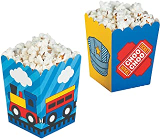 Fun Express - Train Popcorn Boxes (24pc) for Birthday - Party Supplies - Containers & Boxes - Paper Boxes - Birthday - 24 Pieces