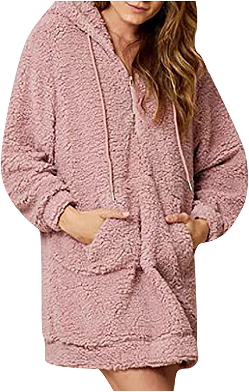 Olivcker Women Wool Hoodie Sweatshirt Drawstring Solid Color Long Sleeve Loose Warm Comfy Winter Coat Trendy Outwear