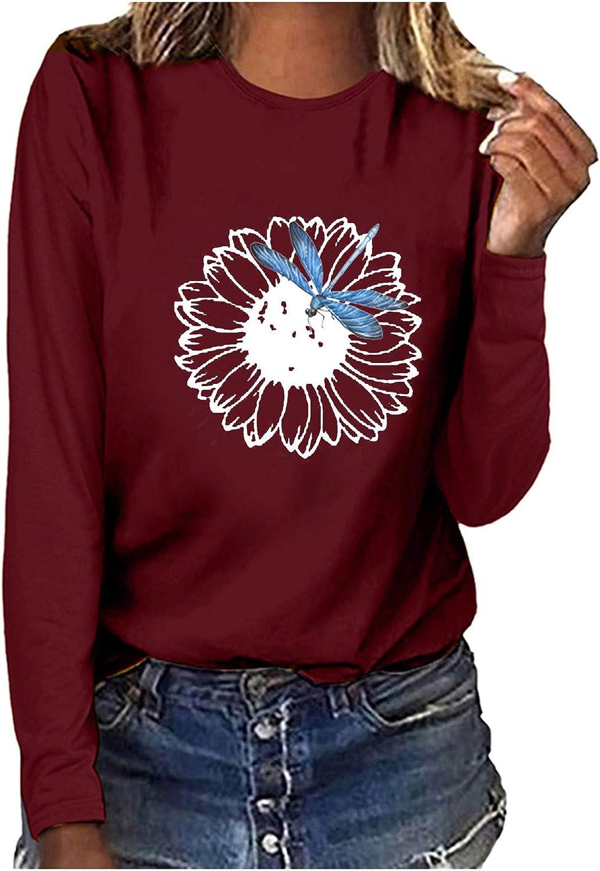 Womens Long Sleeve Tops Crewneck Dragonfly Print Casual Pullover Tops Sweatshirts Tunics for Teen Girls